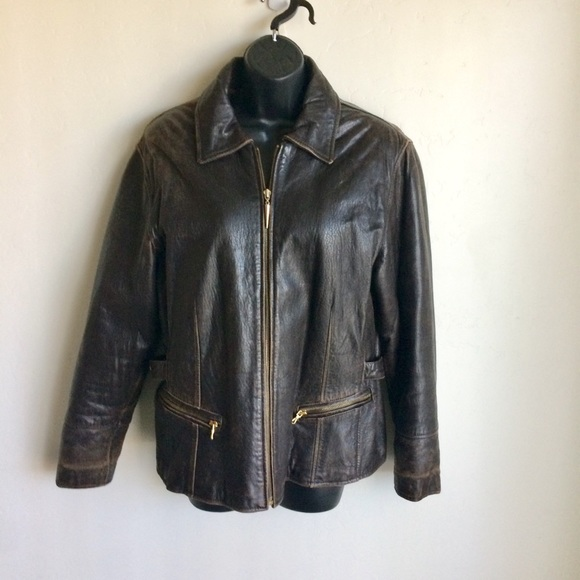 Blue Life Jackets & Blazers - Leather Jacket Blue Line Company Brown Size M